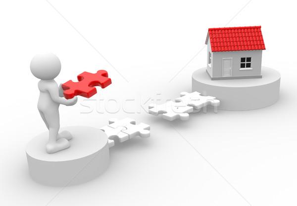 家 3次元の人々 男 人 ピース パズル ストックフォト © coramax