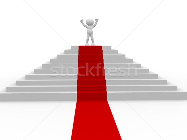 Nyertes 3d emberek emberi karakter személy lépcső Stock fotó © coramax
