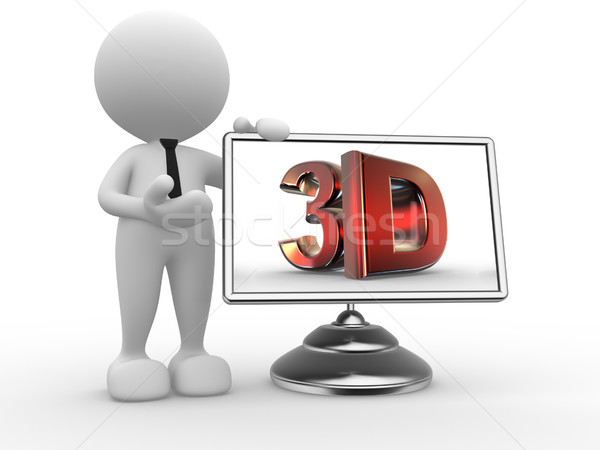 3d people - man, person with a monitor and text '3d'. Stock photo © coramax