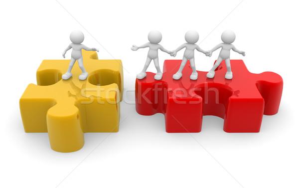 Puzzel 3d mensen menselijke karakter persoon Stockfoto © coramax
