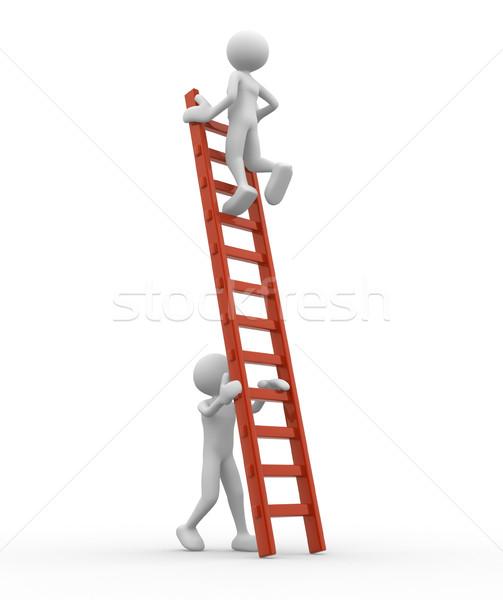 Leiter 3D-Menschen Mann Person helfen ein anderer Stock foto © coramax