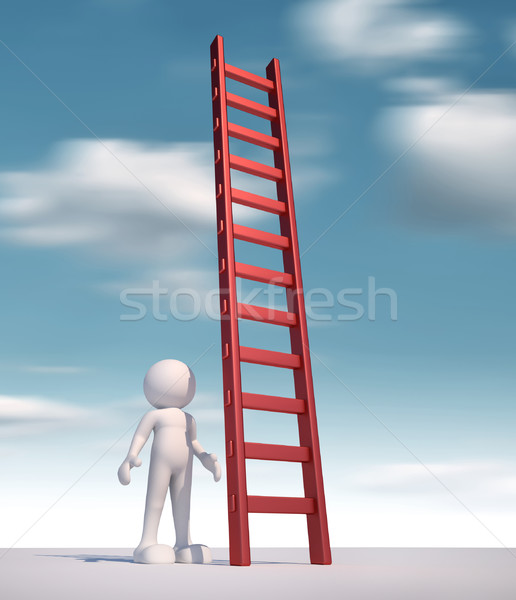 Drabiny 3d osób ludzi charakter osoby schodów Zdjęcia stock © coramax