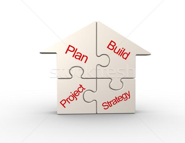 Quebra-cabeça 3D casa peças negócio casa Foto stock © coramax