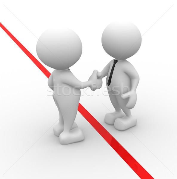 üzletember 3d emberek férfiak személy kézfogás üzleti partnerek Stock fotó © coramax