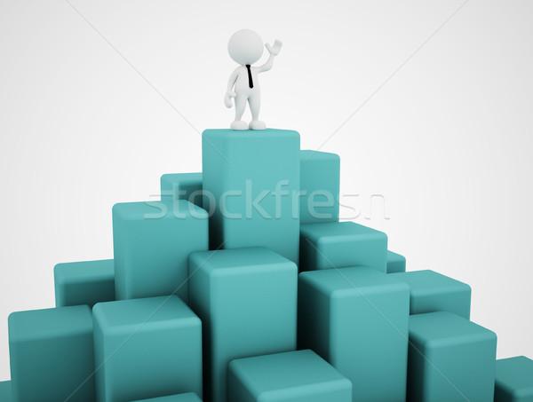 Biznesmen 3d osób człowiek osoby równowaga Zdjęcia stock © coramax