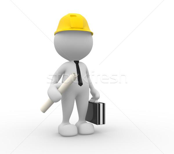Stockfoto: Ingenieur · 3d · mensen · man · persoon · project · werk