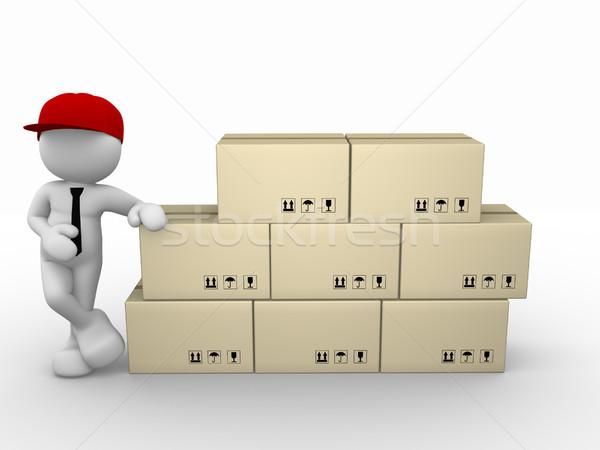 Briefträger 3D-Menschen Mann Person Karton Boxen Stock foto © coramax