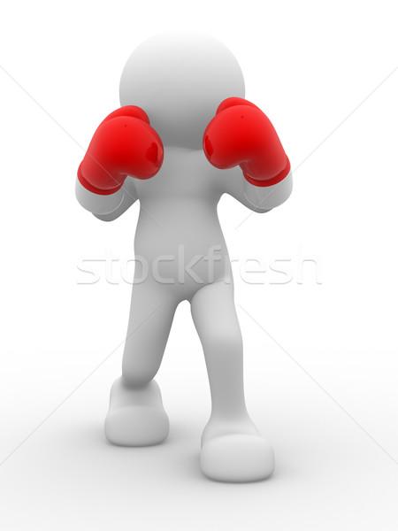 Boxeador 3d personas hombre persona poder blanco Foto stock © coramax