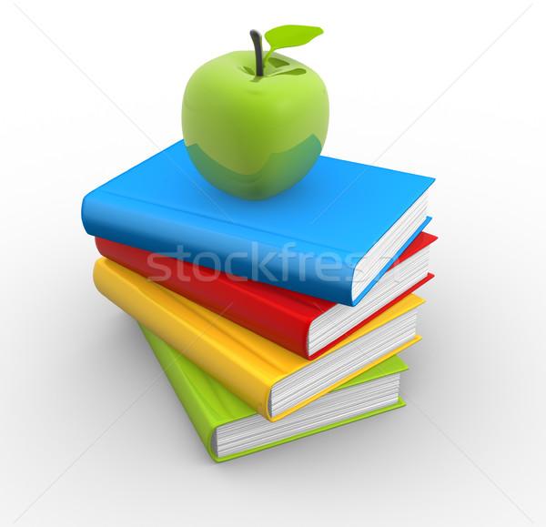 Könyvek 3D köteg alma felső 3d render Stock fotó © coramax