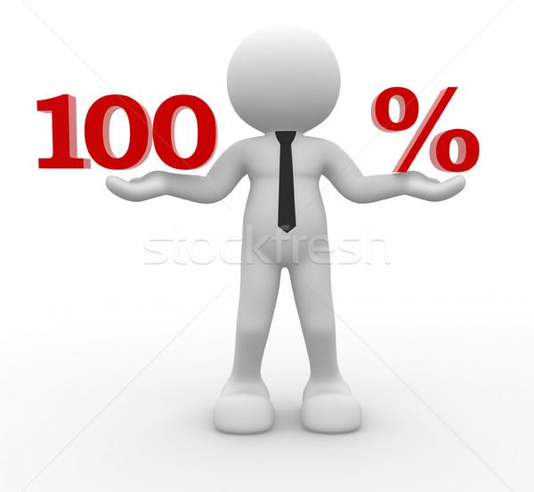 Foto stock: 100 · 3d · personas · hombre · persona · por · ciento · negocios