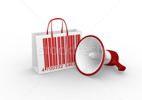 корзина 3d визуализации мегафон красный бизнеса Scream Сток-фото © coramax