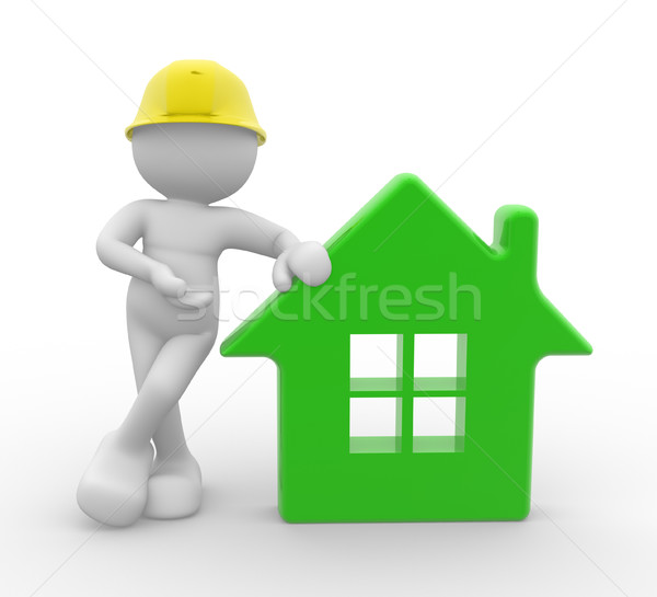 строителя 3d люди человека человек дома шлема Сток-фото © coramax