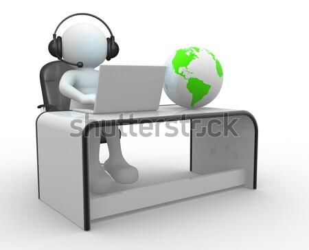 Escritório 3d pessoas homem pessoa laptop terra Foto stock © coramax