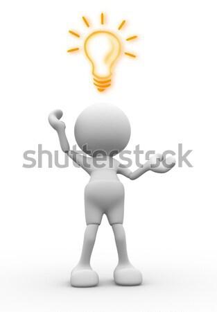 Bombilla 3d personas hombre persona la eficiencia energética negocios Foto stock © coramax