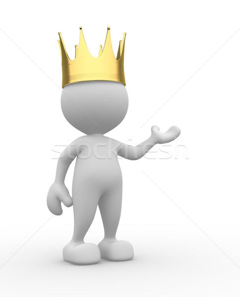 Rei 3d pessoas homem pessoa dourado coroa Foto stock © coramax