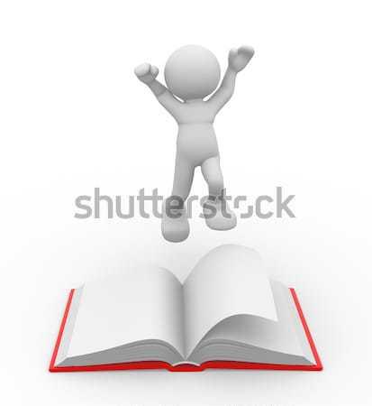 Open boek 3d mensen menselijke karakter persoon 3d render Stockfoto © coramax
