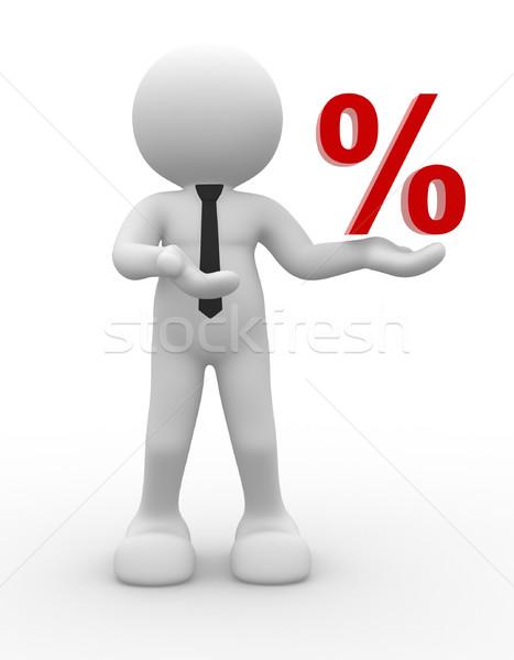 パーセント 3次元の人々 男 人 にログイン 割引 ストックフォト © coramax