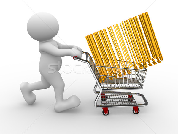 Panier gens 3d humaine personnage personne Barcode Photo stock © coramax