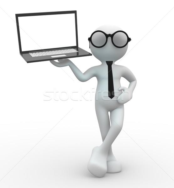 Foto stock: Laptop · 3d · pessoas · homem · pessoa · abstrato · fundo