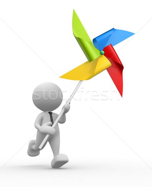 風車 3次元の人々 男 人 おもちゃ 紙 ストックフォト © coramax