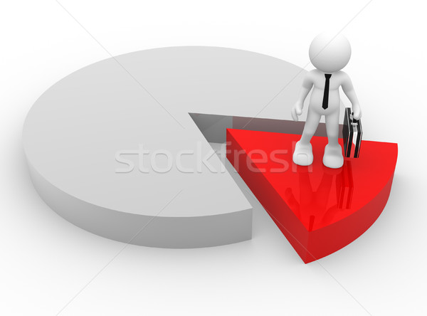 üzletember 3d emberek férfi személy áll diagram Stock fotó © coramax