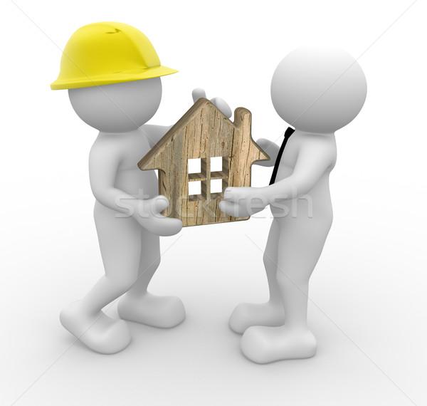 Imprenditore la gente 3d uomo persona casa builder Foto d'archivio © coramax