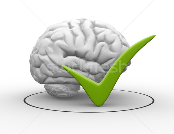 3D мозг знак проверить 3d визуализации Сток-фото © coramax