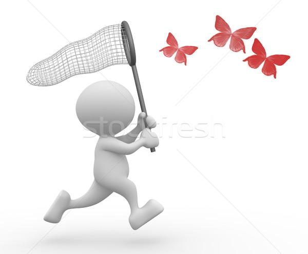 Pillangó net 3d emberek férfi személy boldog Stock fotó © coramax