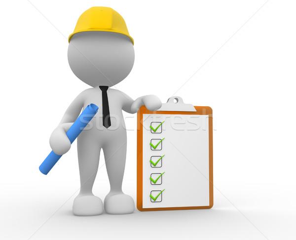Empresario 3d personas hombre persona portapapeles constructor Foto stock © coramax
