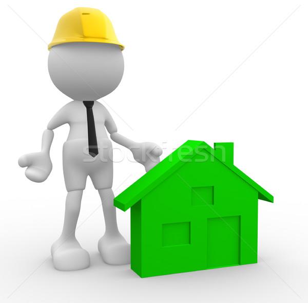 La gente 3d uomo persona casa builder casco Foto d'archivio © coramax