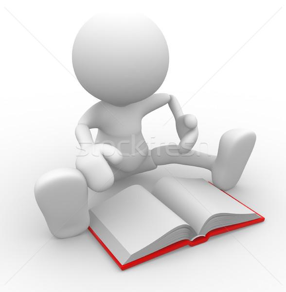 Libro la gente 3d uomo persona libro aperto business Foto d'archivio © coramax