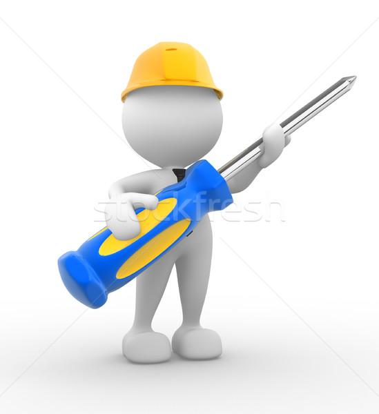 Tournevis gens 3d homme personne construction travaux Photo stock © coramax