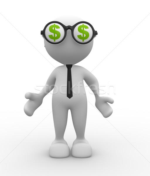 ストックフォト: ドル記号 · 3次元の人々 · 男 · 人 · 眼鏡 · ビジネス