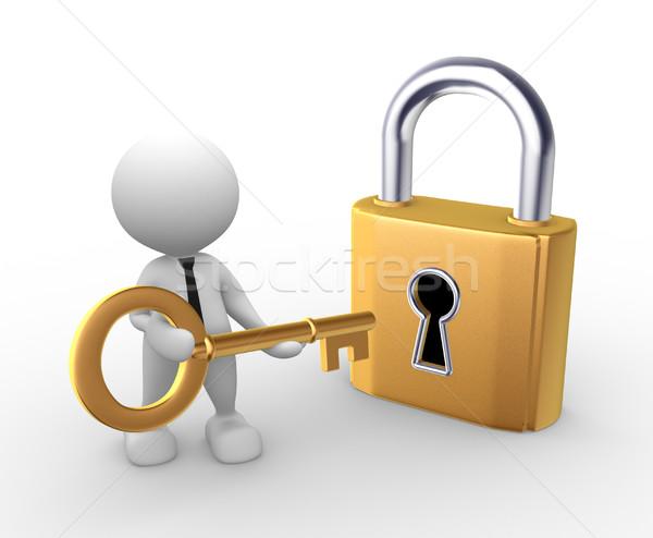 Stock fotó: Kulcs · 3d · emberek · férfi · személy · nyitva · zár