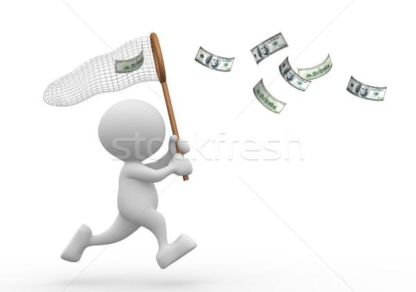 Dollár 3d emberek férfi személy pillangó net Stock fotó © coramax