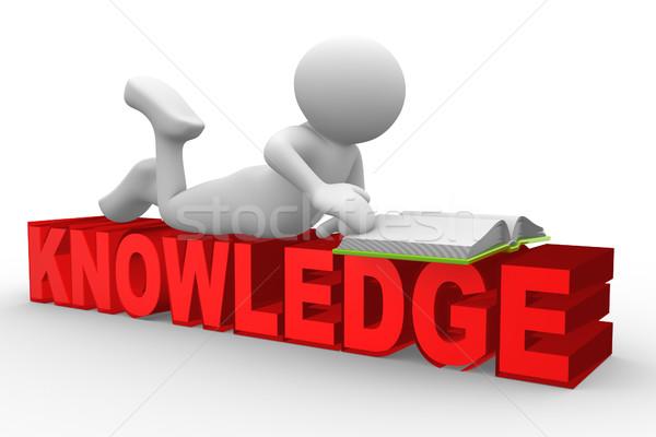 Kennis 3d mensen man persoon Open boek boek Stockfoto © coramax