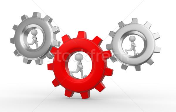Engrenagem mecanismo 3d pessoas homem pessoa pasta Foto stock © coramax