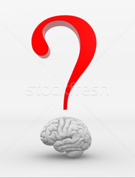 мозг вопросительный знак 3d визуализации иллюстрация науки Сток-фото © coramax