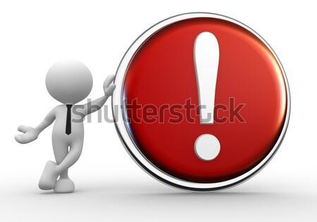 Signo de admiración 3d personas hombre persona botón feliz Foto stock © coramax