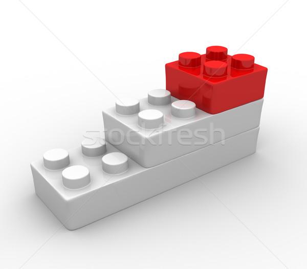 Játékok téglák műanyag építőkockák fehér 3d render Stock fotó © coramax