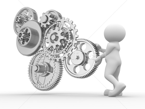 Versnelling mechanisme 3d mensen man 3d render illustratie Stockfoto © coramax