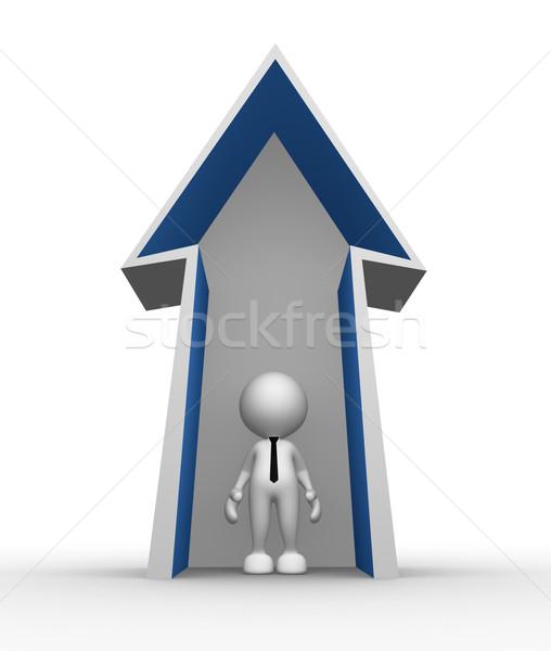 üzletember 3d emberek férfi személy nyíl mutat Stock fotó © coramax