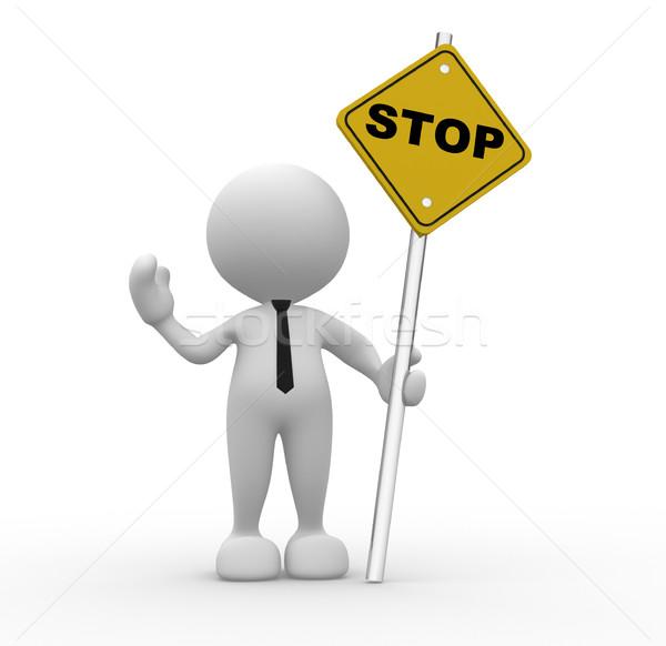 Senal de stop 3d personas hombre persona carretera resumen Foto stock © coramax