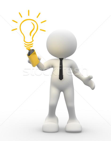 3d люди мужчин человек лампочка человека Сток-фото © coramax