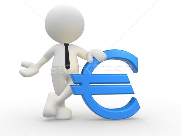 Stockfoto: Euro · 3d · mensen · man · persoon · icon · business