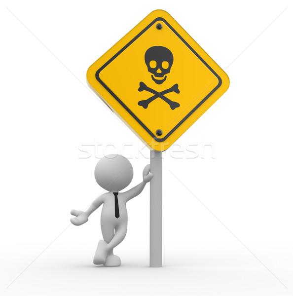 Gevaar schedel teken 3d mensen man persoon Stockfoto © coramax