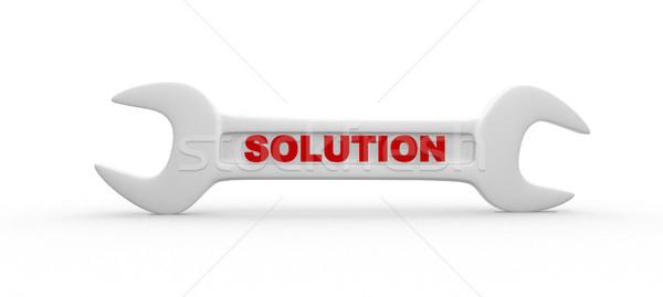 Clé rendu 3d solution main clé travailleur Photo stock © coramax