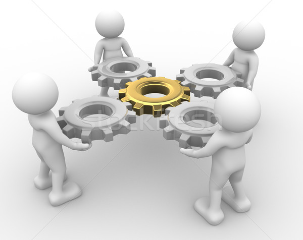 ギア メカニズム 3次元の人々 男 人 ビジネス ストックフォト © coramax