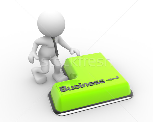 Empresario 3D prensa negocios teclado botón Foto stock © coramax