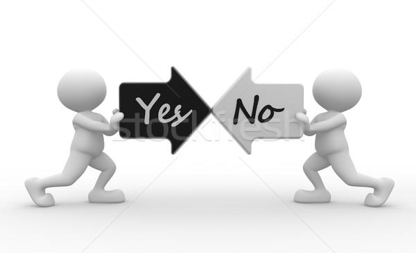 Tak nie 3d osób człowiek osoby dwa Zdjęcia stock © coramax